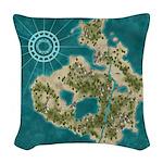 Pirate Adventure Map Woven Throw Pillow