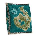 Pirate Adventure Map Burlap Throw Pillow