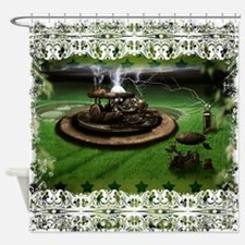 Shower Curtain-Time Machine And Crop Circles