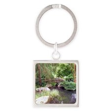 Bridge Over Pond Square Keychain