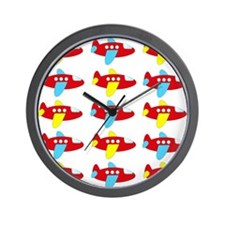 Red Yellow and Blue Airplanes Wall Clock