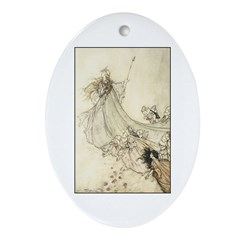 Queen of the Fairies with pix Oval Ornament