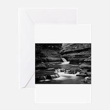 Buttermilk Falls, New York (BW) Greeting Cards