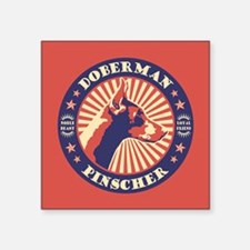 "Doberman Vintage Emblem Square Sticker 3"" x 3"""