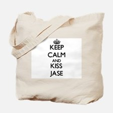 Keep Calm and Kiss Jase Tote Bag
