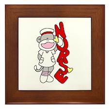 Sock Monkey Nurse Framed Tile