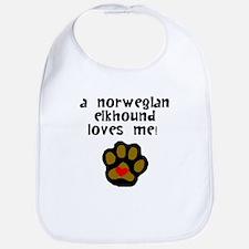 A Norwegian Elkhound Loves Me Bib