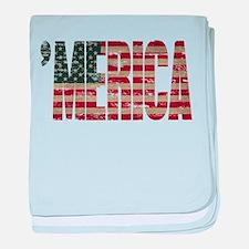Vintage Distressed MERICA Flag baby blanket
