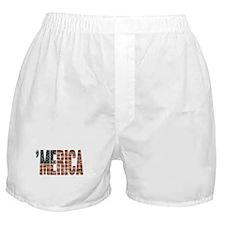 Vintage Distressed MERICA Flag Boxer Shorts