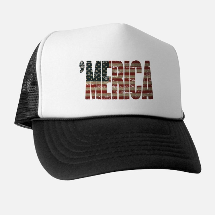 Vintage Distressed MERICA Flag Trucker Hat
