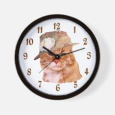 TABBY CAT IN HAT WALL CLOCK