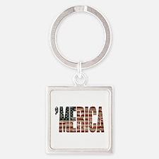 Vintage Distressed MERICA Flag Keychains