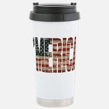 Vintage Distressed MERICA Flag Travel Mug