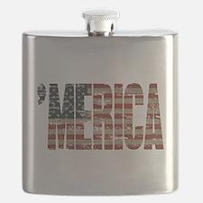 Vintage Distressed MERICA Flag Flask