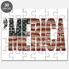 Vintage Distressed MERICA Flag Puzzle