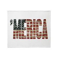 Vintage Distressed MERICA Flag Throw Blanket