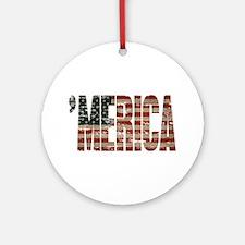 Vintage Distressed MERICA Flag Ornament (Round)