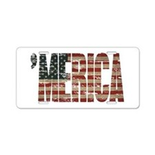 Vintage Distressed MERICA Flag Aluminum License Pl