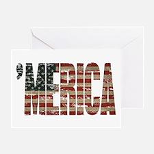 Vintage Distressed MERICA Flag Greeting Cards