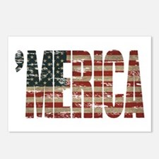 Vintage Distressed MERICA Flag Postcards (Package