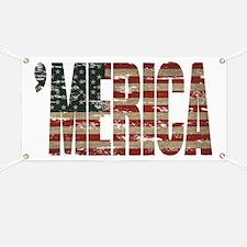 Vintage Distressed MERICA Flag Banner