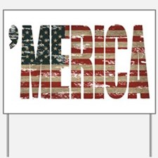 Vintage Distressed MERICA Flag Yard Sign
