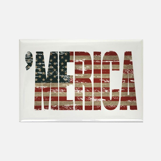 Vintage Distressed MERICA Flag Magnets