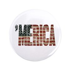 "Vintage Distressed MERICA Flag 3.5"" Button"