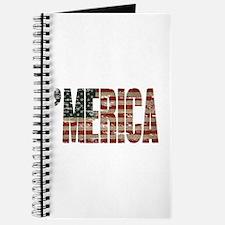 Vintage Distressed MERICA Flag Journal