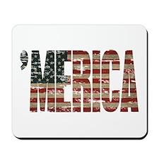 Vintage Distressed MERICA Flag Mousepad