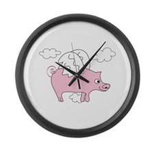 Flying Pig Large Wall Clock
