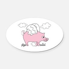 Pigs Rule! Oval Car Magnet