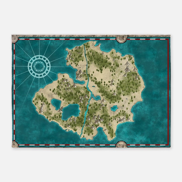 Pirate Adventure Map 5'x7'Area Rug
