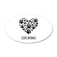 I love animals 22x14 Oval Wall Peel