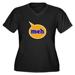 Meh Women's Plus Size V-Neck Dark T-Shirt