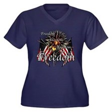 Freedom fire Women's Plus Size V-Neck Dark T-Shirt