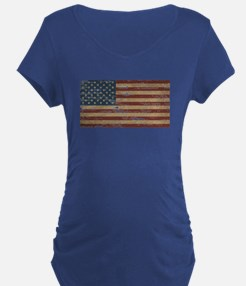 Vintage Distressed American Flag Maternity T-Shirt