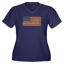 Vintage Distressed American Flag Plus Size T-Shirt