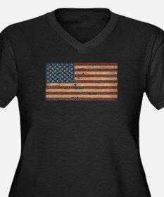 Vintage Distressed American Flag Plus Size T-Shirt