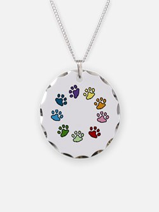 Paw Print Circle Necklace