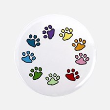 "Paw Print Circle 3.5"" Button"