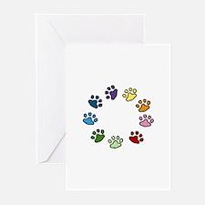 Paw Print Circle Greeting Cards