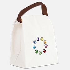 Paw Print Circle Canvas Lunch Bag