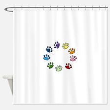 Paw Print Circle Shower Curtain