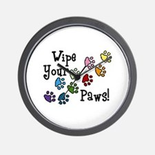Wipe Your Paws Wall Clock