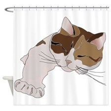 Calico Cat Sleeping Shower Curtain