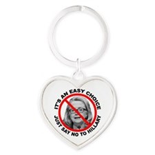Say No to Hillary Clinton Heart Keychain