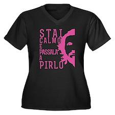 Pirlo Stai Women's Plus Size V-Neck Dark T-Shirt