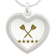 Darts stars Silver Heart Necklace
