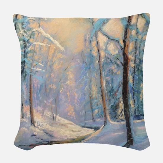 Winter brook pastel Woven Throw Pillow